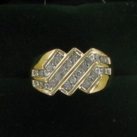Gent's Diamond Cluster Ring 26 Diamonds 1.30 Carat T.W. 10K Yellow Gold 3.4dwt