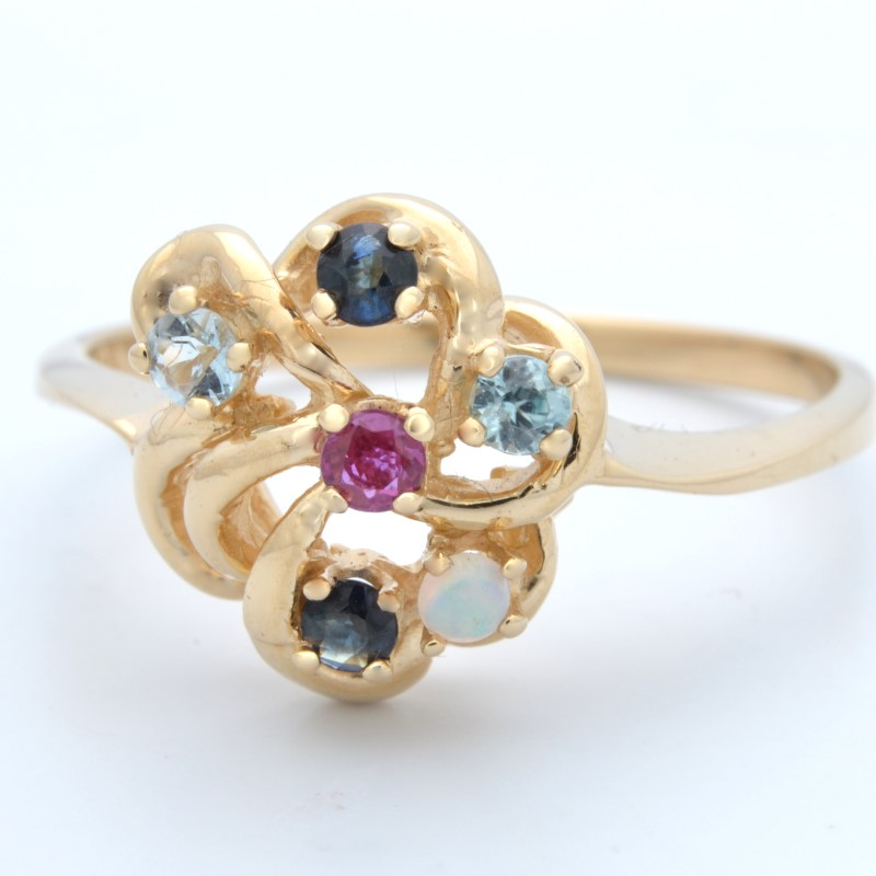 ESTATE MIXED GEM STONE RING SOLID 14K YELLOW GOLD FLOWER SIZE 8.75