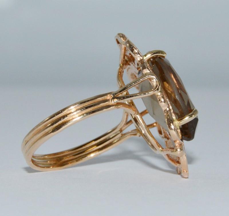 14K Yellow Gold Vintage Inspired Smokey Topaz Filigree Cocktail Ring Size 8