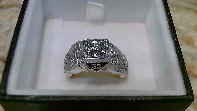 Masonic 32 Scottish Rites 5 Diamond 2 Tone Ring