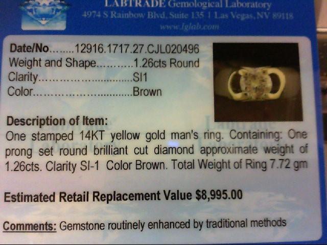 Gent's Diamond Fashion Ring 1.26 CT. 14K Yellow Gold 7.72g Size:10