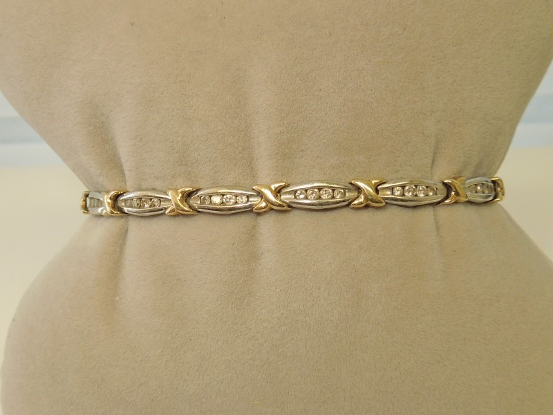 GOLD-DIAMOND BRACELET: 9.6G 10K-2TONE