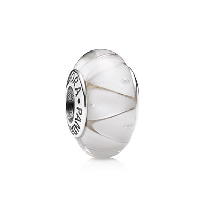 PANDORA WHITE LOOKING GLASS MURANO CHARM