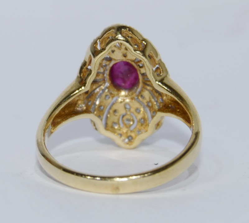 14K Two Tone Gold Vintage Inspired Ruby Filigree Ring Size 6