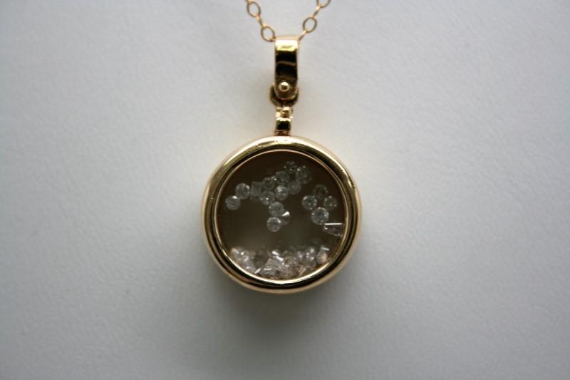 FASHION DIAMOND PENDANT 14K YELLOW GOLD