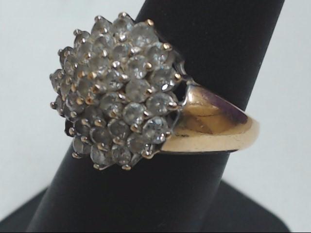 Lady's Diamond Cluster Ring 35 Diamonds 1.75 Carat T.W. 10K Yellow Gold 4.4g