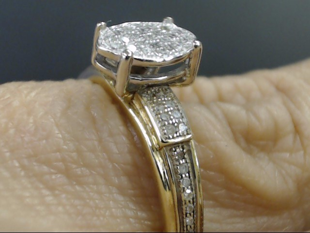 VINTAGE OVAL DIAMOND CLUSTER ENGAGE WED RING SOLID 10K GOLD SZ 9.25