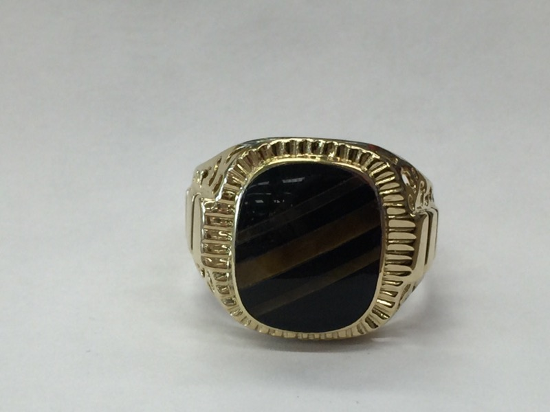 GENTS 14KT Brown Stone Gent's Stone Ring TIGER EYE 14K Yellow Gold 4.7dwt
