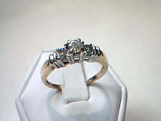 Lady's Diamond Cluster Ring 3 Diamonds .45 Carat T.W. 14K Yellow Gold 3.6g