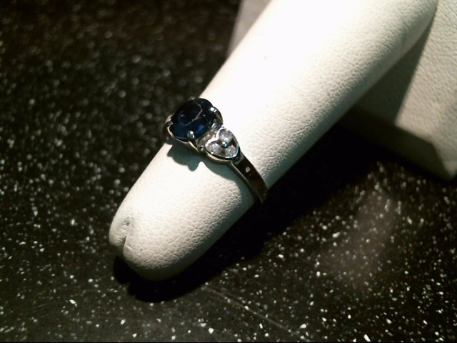 Sapphire Lady's Stone & Diamond Ring 6 Diamonds .06 Carat T.W. 14K White Gold