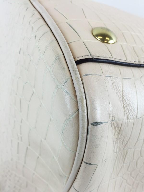 COACH WHITE EMBOSSED SNAKE SATCHEL HANDBAG F26123