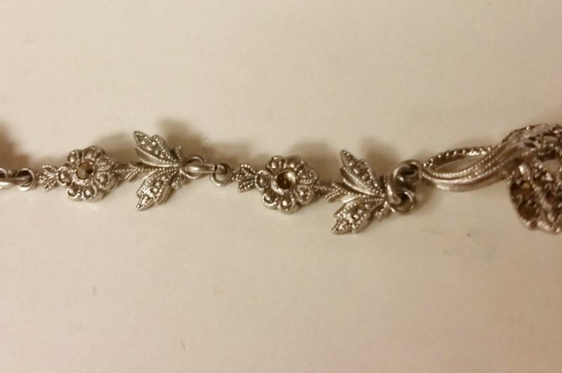 "7"" Sterling Silver Vintage Inspired Floral Marcasite Bracelet *CUSTOMIZEABLE!*"