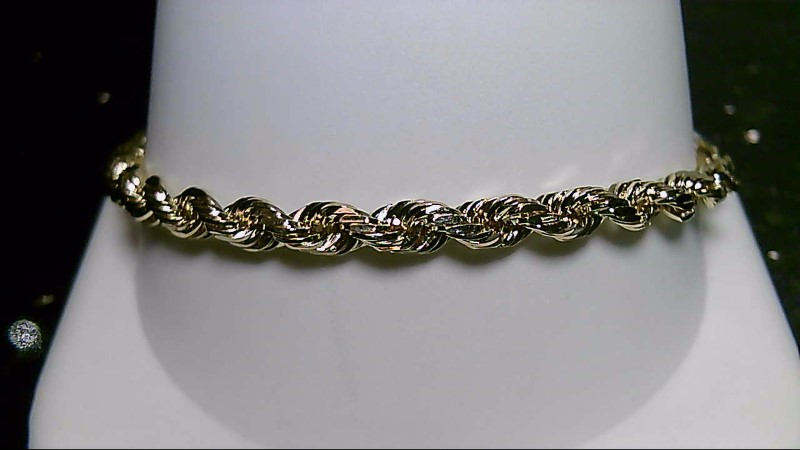 "7"" Gold Rope Bracelet 14K Yellow Gold 4.6g"