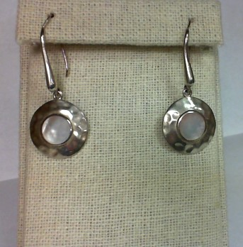 Mother Of Pearl Silver-Stone Earrings 925 Silver 6.3g