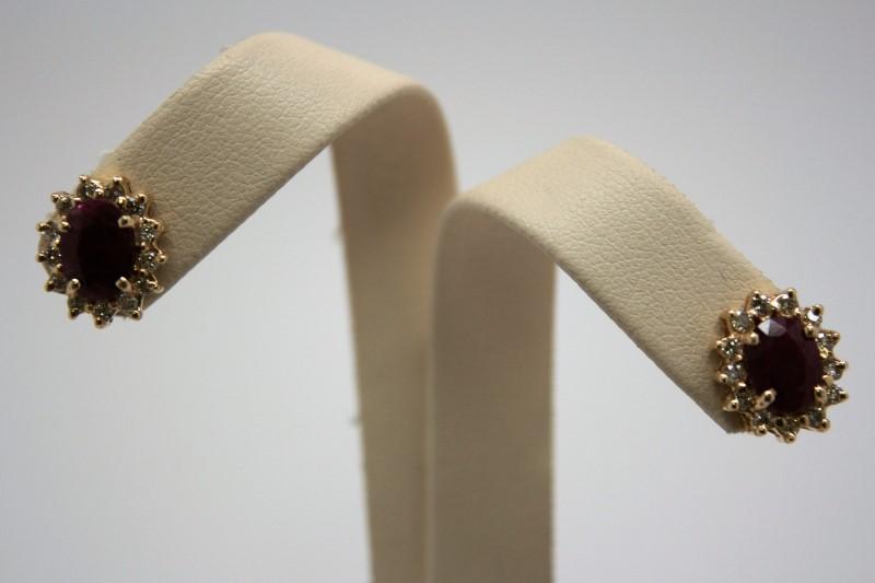FASHION RUBY & DIAMOND EARRINGS 14K YELLOW GOLD