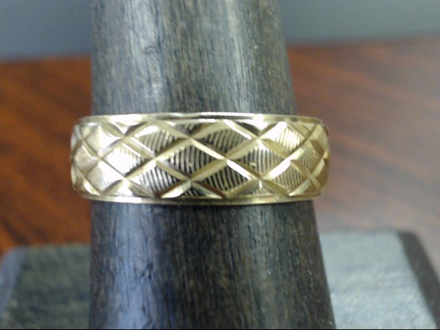 ESTATE CRISS CROSS DESIGN WED RING BAND SOLID 10K GOLD 6MM SIZE 8