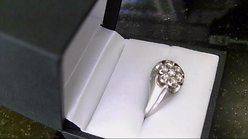 10K White Gold 7 Diamond Cluster Ring