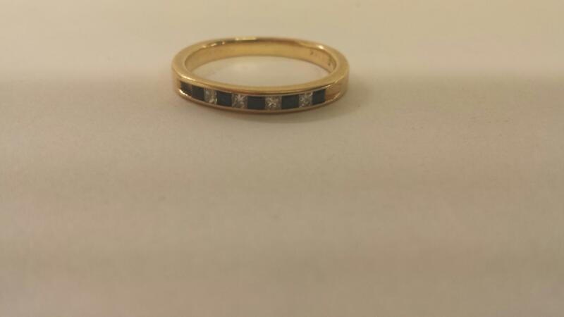 14K-Y/G Lds Blue Stone And Diamond Ring