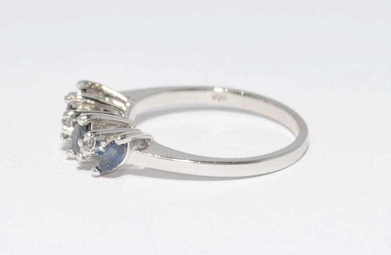 14K White Gold Cathedral Set Marquise Sapphire & Diamond Row Ring Band sz 6.5