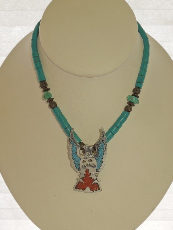 NATIVE AMERICAN JEWELRY American Indian Blanket/Rug TURQUOISE SS NECKLACE