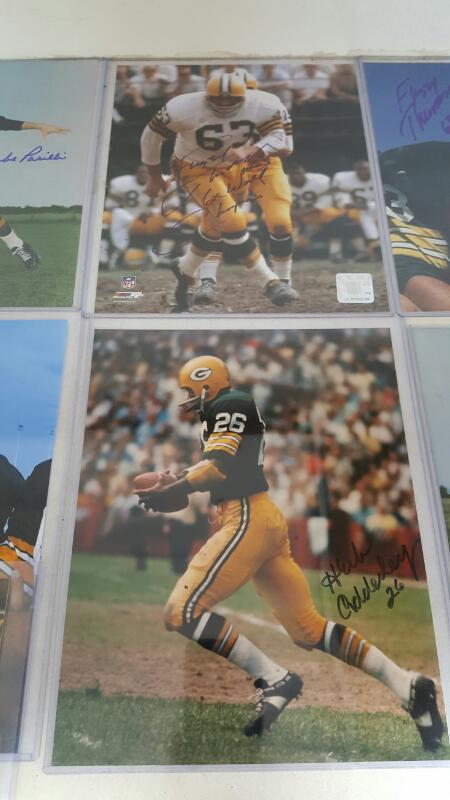 Lot of GB Packers Signed 8 x 10 - Fuzzy, Adderly , Kramer, Anderson, Parilli