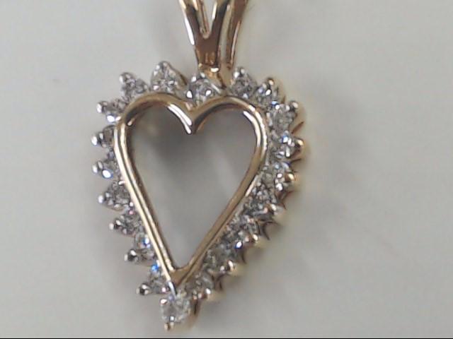 VINTAGE DIAMOND HEART PENDANT CHARM SOLID REAL 10K GOLD LOVE PROMISE