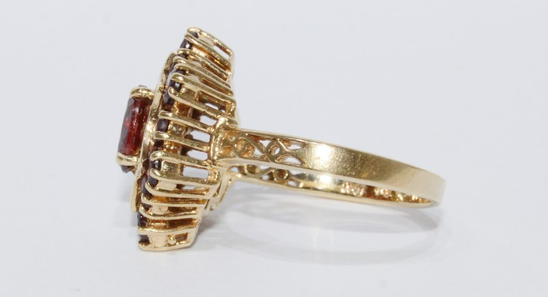10K Yellow Gold Vintage Inspired Garnet Cluster Filigree Accented Shield Ring6.5