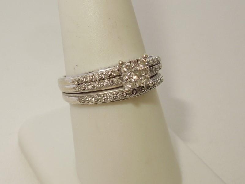 Lady's Diamond Wedding Set 35 Diamonds .49 Carat T.W. 10K White Gold 4.2g