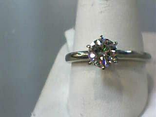 White Stone Lady's Stone Ring 14K White Gold 2.3dwt Size:10.5