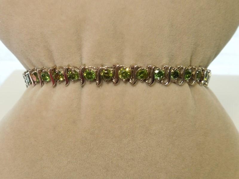 "7"" GREEN DIAMOND TENNIS BRACELET - 10K W/G"