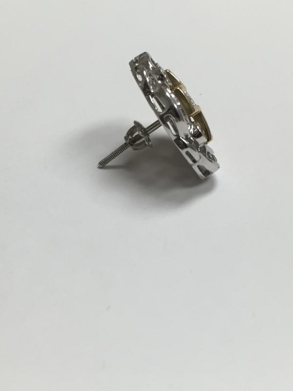 Gold-Diamond Earrings 38 Diamonds .56 Carat T.W. 14K 2 Tone Gold 2.1dwt