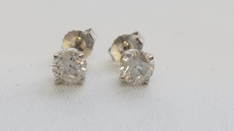 Gold-Diamond Earrings 2 Diamonds .88 Carat T.W. 14K White Gold 1g