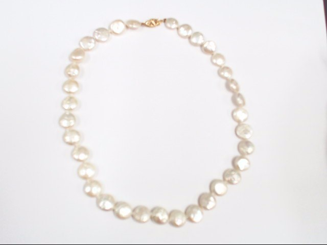 Pearl Stone Necklace 14K Yellow Gold 23.9g