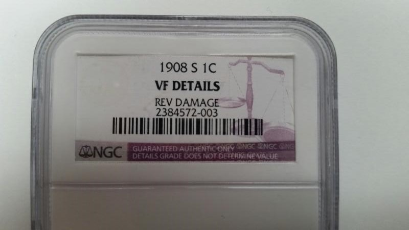 UNITED STATES Coin 1908 S 1C NGC GRADED VF DETAILS REV DAMAGE