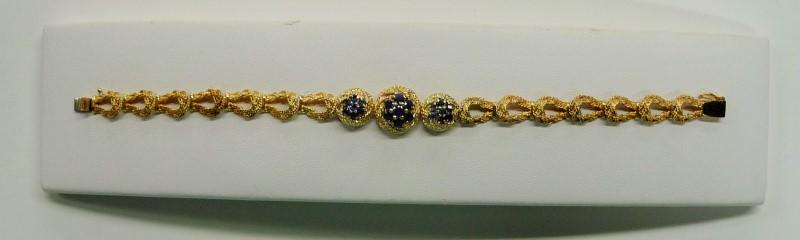 Synthetic Sapphire Gold-Stone Bracelet 18K Yellow Gold 11.67dwt