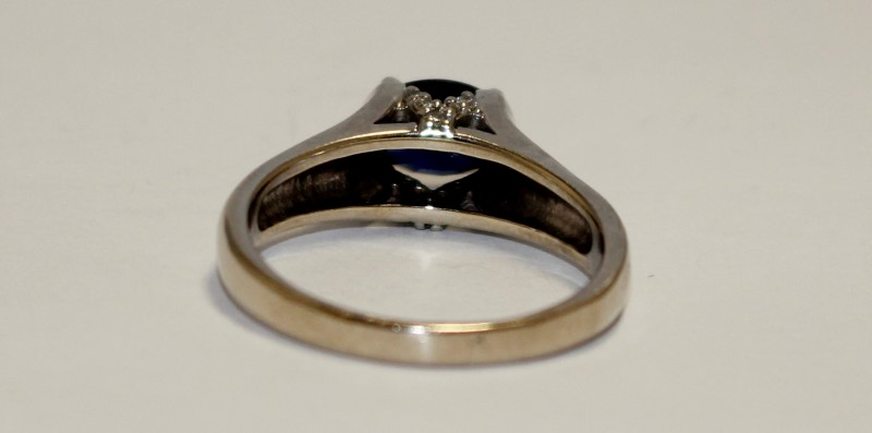 Sapphire Lady's Stone Ring 14K White Gold 5.55g
