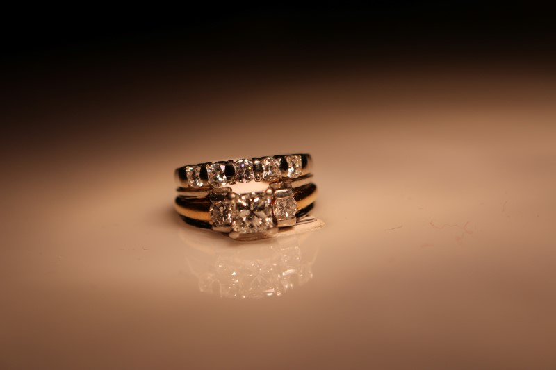 Lady's Diamond Engagement Ring 8 Diamonds 1.58 Carat T.W. 14K 2 Tone Gold 10.3g