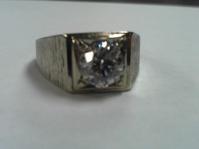 Cubic Zirconia Gent's Stone Ring 14K White Gold 10.5g