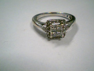 Lady's Diamond Engagement Ring 20 Diamonds .56 Carat T.W. 10K White Gold 1.6g