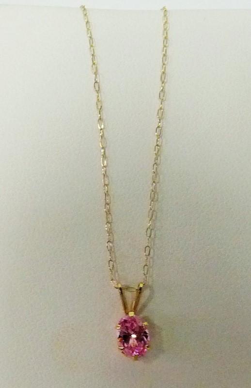 Synthetic Pink Tourmaline Gold-Stone Pendant 14K Yellow Gold 0.55dwt