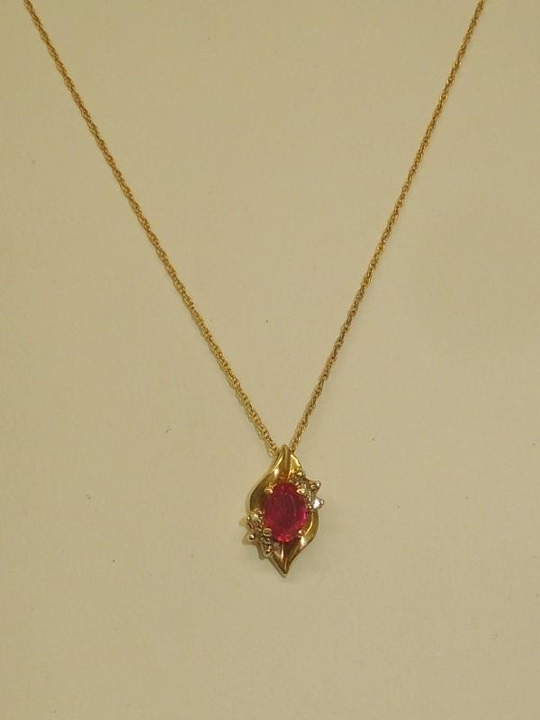 Synthetic Ruby Diamond & Stone Necklace 2 Diamonds .02 Carat T.W.