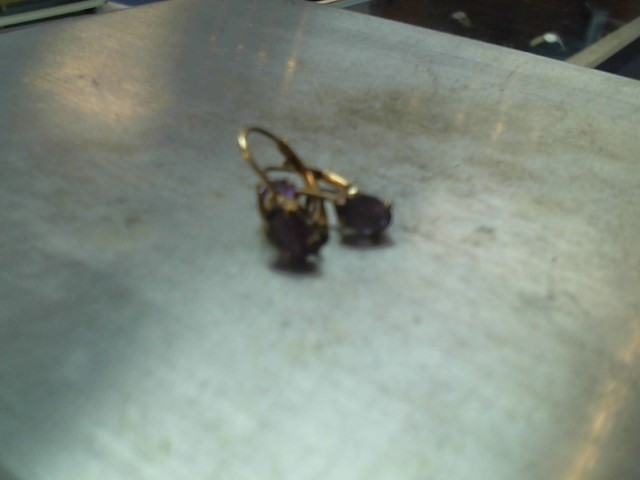 Synthetic Amethyst Gold-Stone Earrings 10K Yellow Gold 1.1g