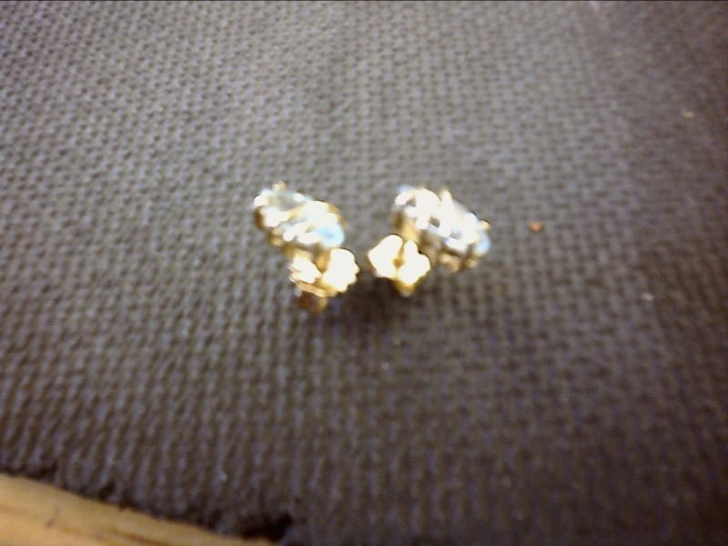 Synthetic Blue Topaz Gold-Stone Earrings 10K Yellow Gold 0.8dwt