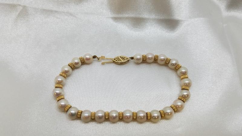 Pearl Gold-Stone Bracelet 14K Yellow Gold 8.8g