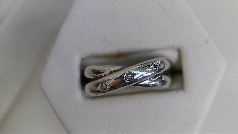 Gent's Silver-Diamond Ring 3 Diamonds .06 Carat T.W. 925 Silver 6.4g