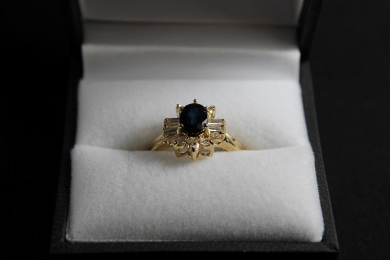 September Birthstone Lady's Sapphire and Diamond 14K Yellow Gold Ring