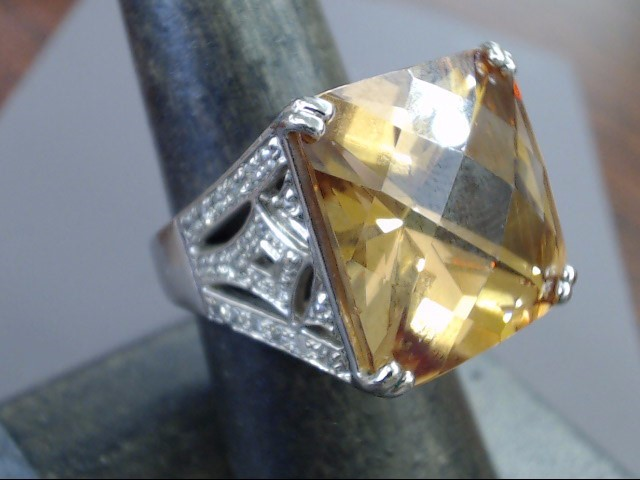 ESTATE STERLING SILVER 925 LARGE ORANGE BROWN STONE RING  SIZE 7.75