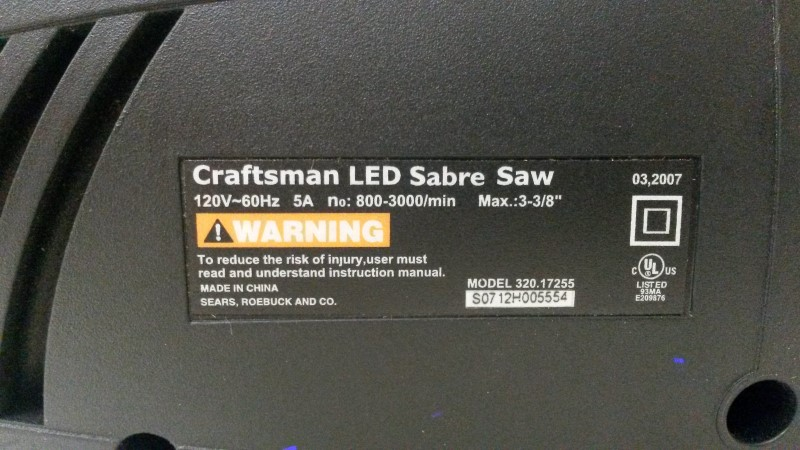 CRAFTSMAN Jig Saw 135.17243 SABRE SAW