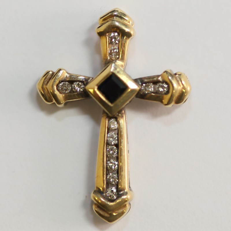 14K Y/G Princess Cut Sapphire w/ Channel Set Diamonds Cross Pendant