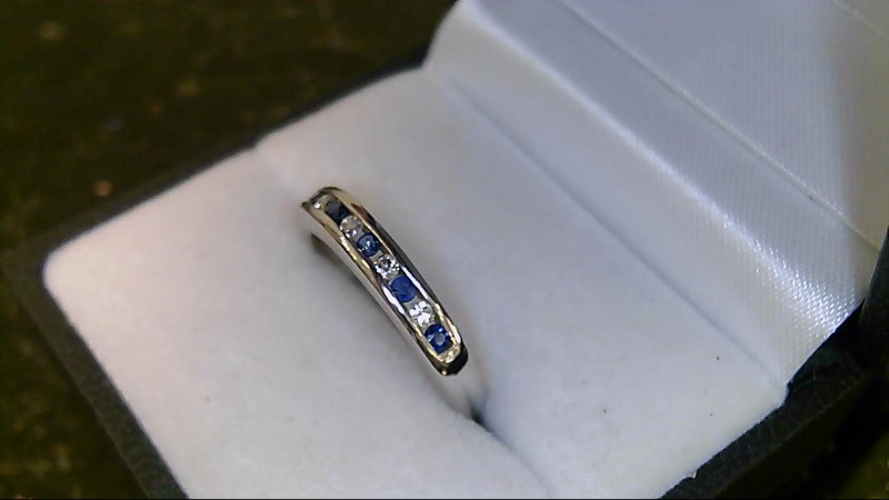 Lady's Syn Sapphire & Diamond Ring 6 Diamonds 14K White Gold Ring